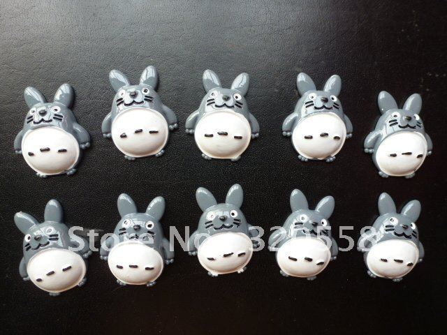 Wholesale My Neighbor Totoro with hand Foot FlatBack Resins Scrapbooking Embellishment 50pcs Free Shipping 1.2""