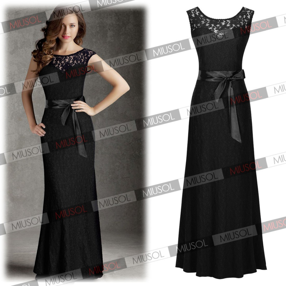 2015 New Fashion Summer Style Women Sexy Black Lace Open Back Long Prom Ball Formal Cocktail Party Dresses Size SM-XXL 3192(China (Mainland))