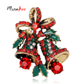 Happy New Year Christmas Gift Gold Plated Rhinestone Bell Brooch Christmas Brooches for Female Women Scarf Clip Collar Hijab Pin