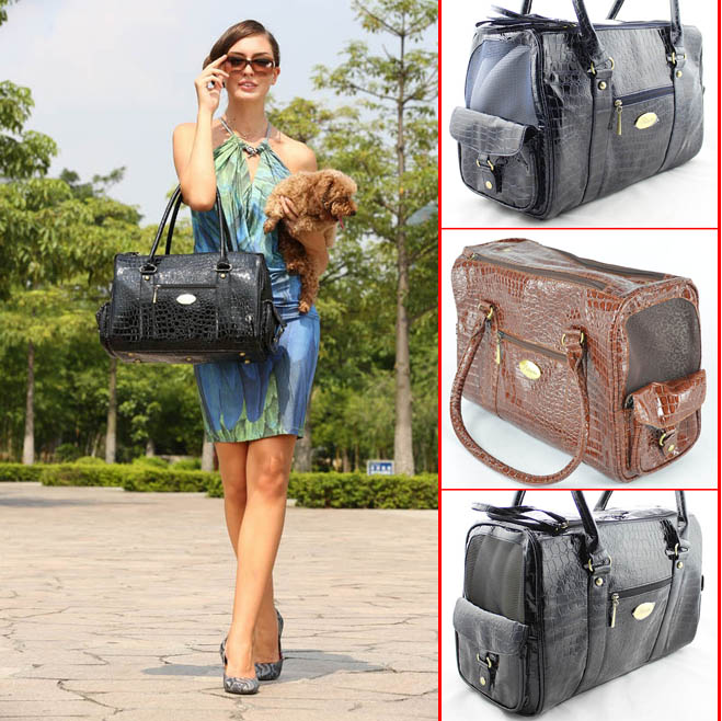 Puppy Pet Dog Carrier Bag Dog Carry Outdoor Bag Carrier Vintage Crocodile Skin Bag Wholesale Supply Retail Free Shipping(China (Mainland))