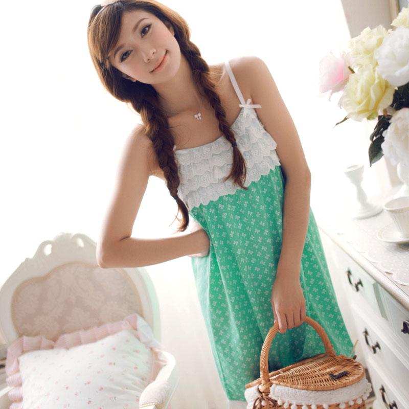 Summer nightgown women's sexy sleepwear knitted cotton spaghetti strap nightgown women's elegant nightgown lounge free shipping(China (Mainland))