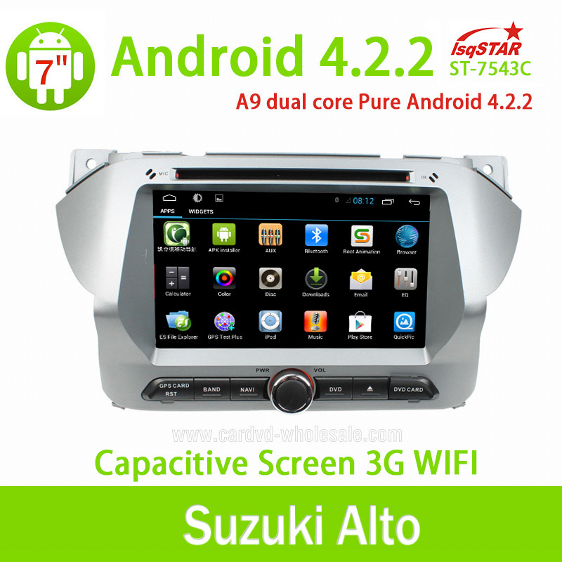 Wholesale Android 4.2 Car stereo gps radio dvd for Suzuki Alto 3G wifi Steering Wheel Control BT DVD RDS Dual Core free shipping(China (Mainland))
