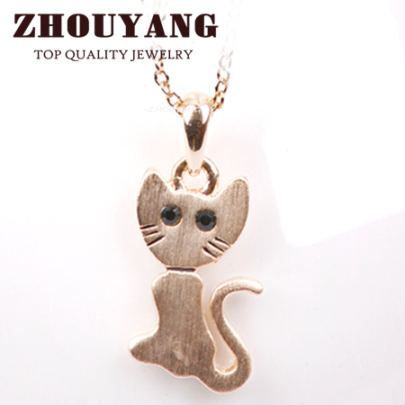 Top Quality N314 Cute Cat Rose Gold Color Fashion Pendant Jewelry Made with Austria Crystal Wholesale(China (Mainland))