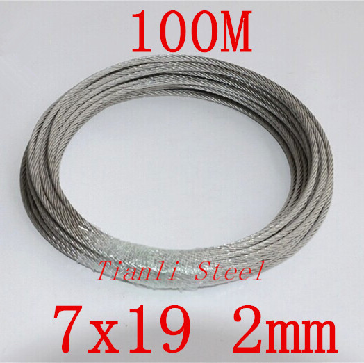 Free shipping Diameter 2 mm 304 Stainless Steel Wire Rope 7 x 19 Construction 100M/Reel(China (Mainland))