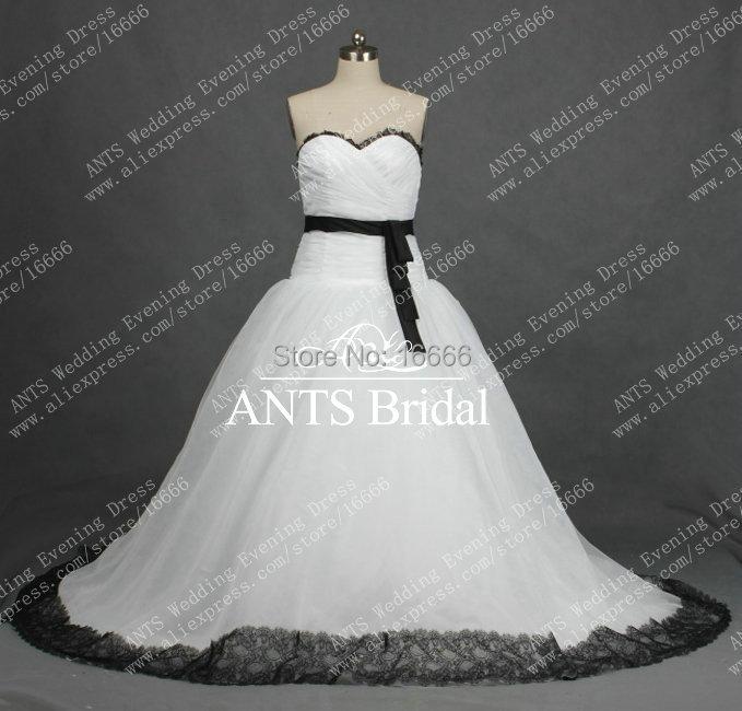 RW303 Real Black Lace Edge White Bridal Wedding Dress Ball Gown Sweetheart(China (Mainland))