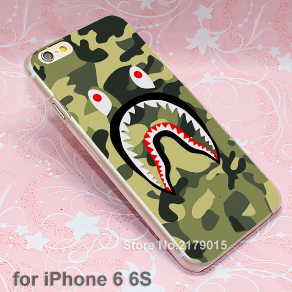 camo bape Camouflage hard transparent clear Cover Case for Apple iPhone 7 6 6s Plus 5 5s 4 4s SE