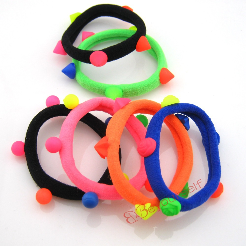 6 SP01-SP07 Punk Colorful Elastic Hair Ties Band Rope Ponytail Holder Bracelets Scrunchie - beyourselfhere store