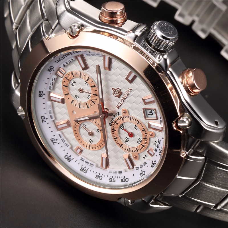 ORKINA JS15 Miyota Движение Шесть Рук Полный Нержавеющей Стали Мужские Часы Лучший Бренд Класса Люкс Кварцевые Наручные Часы Heren Horloges