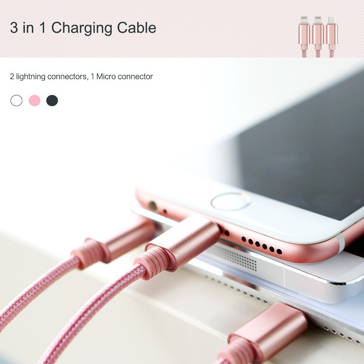Rock 3 in 1 Mobile Phone Data Line Multifunction Pin Charger Mini USB Cable For iPhone Se 5 5S 6 Plus For Samsung Galaxy S7 Edge