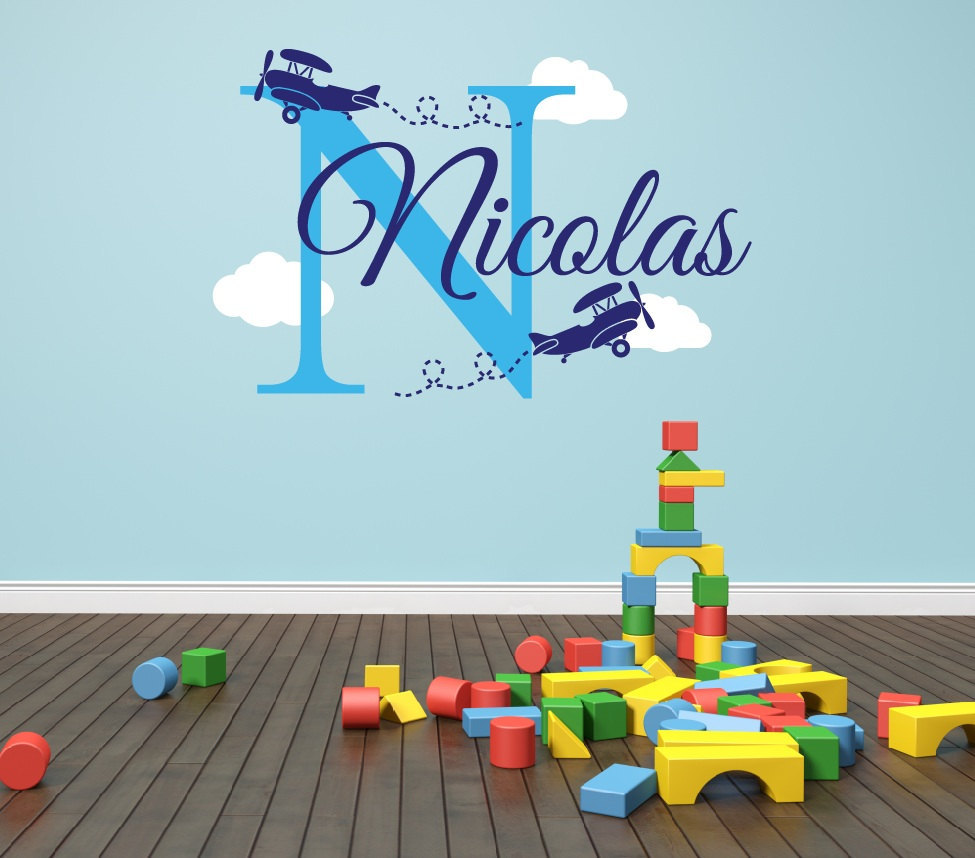 Personalized Airplane Name Clouds Decal Nursery Decor - Airplane Decal Childs Room Decor Vinyl Wall Decal Airplanes With Clouds(China (Mainland))