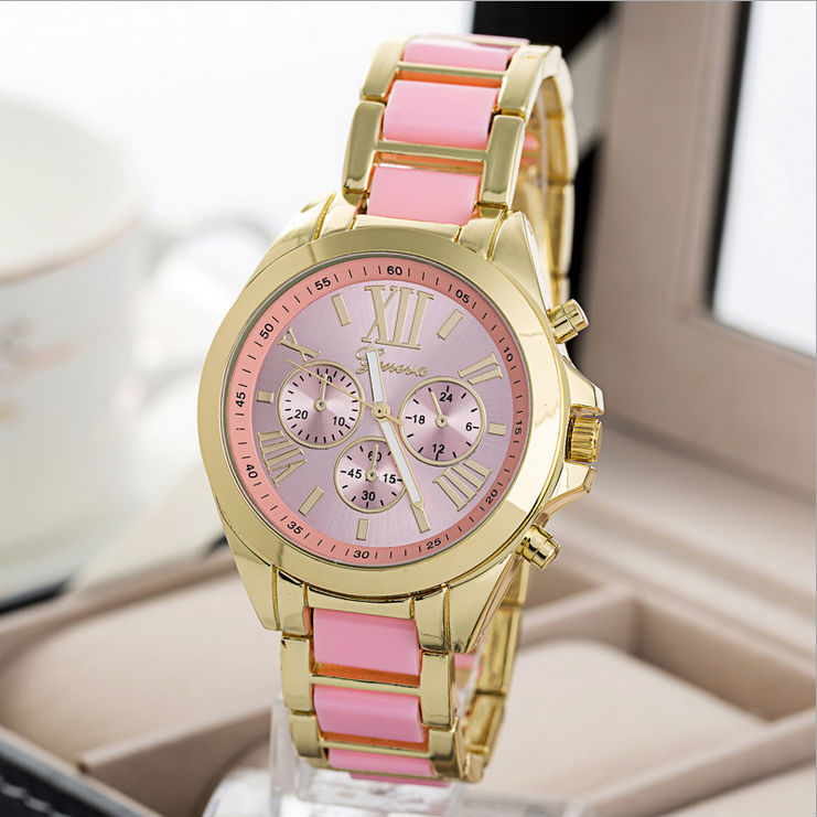 2016 New Fashion 7 Colors Watch Women Geneva Brand Watches Men Quartz Watch Gold Steel Relogio