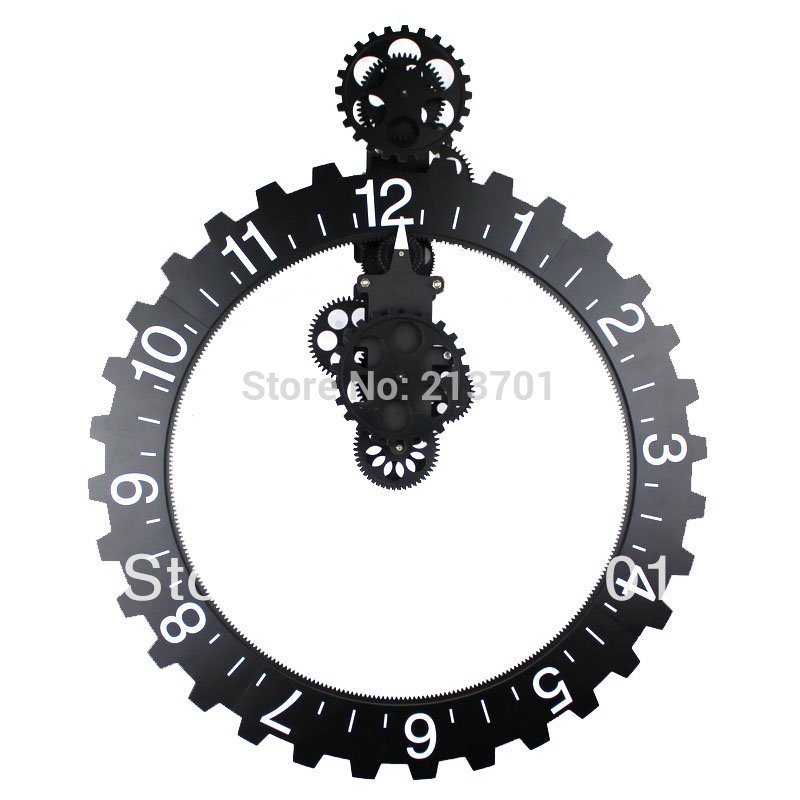 creative gift modern design big mechanical gear clock wall