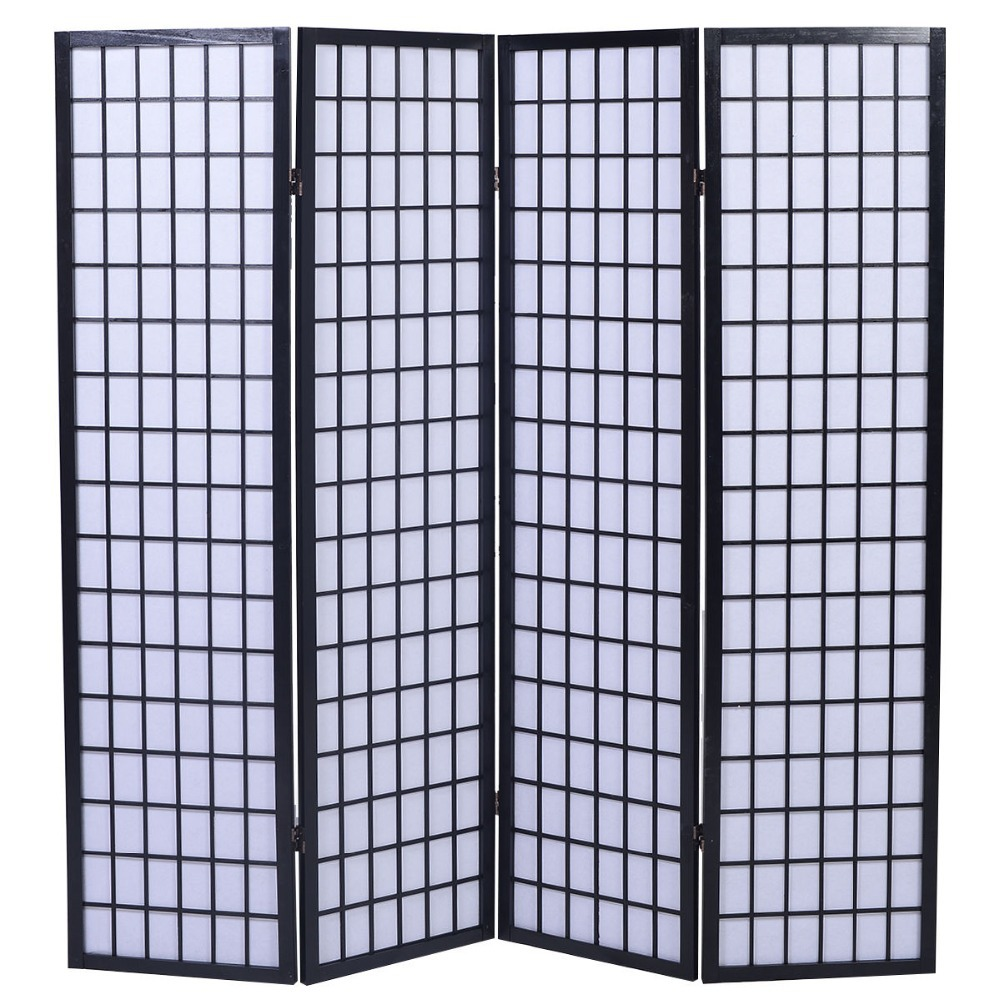 4 panel room divider screen japanese oriental style shoji for Photo screen room dividers
