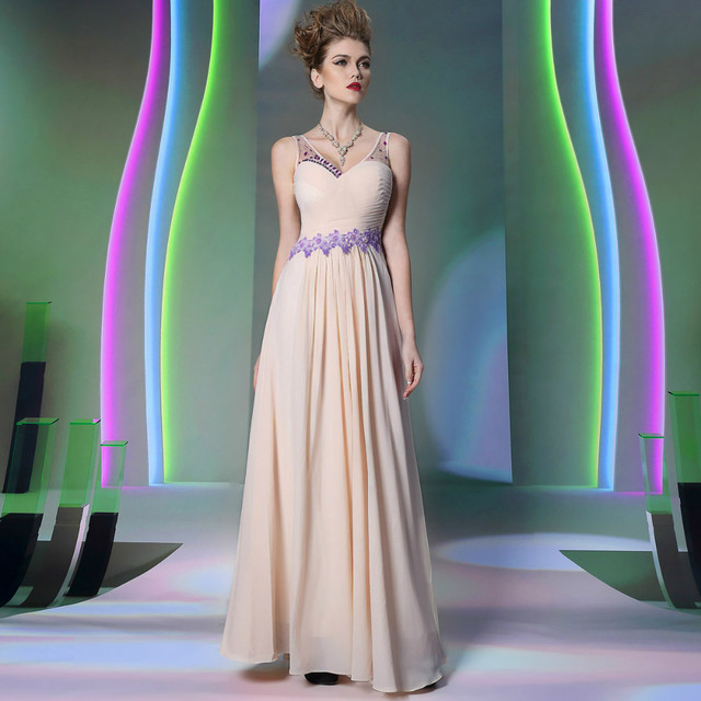 Free shipping DORISQUEEN sexy floor length ruffle new design appliques V neck pink long evening dress 2015 new arrival 30898