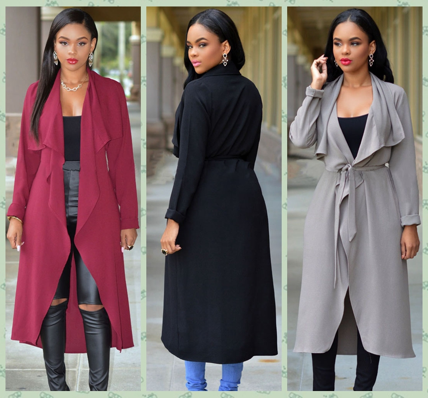 2016 High Fashion Wide Lapel Long Belted Loose Trench Coat Women Ladies Casual Trench Jacket Outwear Black Grey Red Yellow 25736Одежда и ак�е��уары<br><br><br>Aliexpress