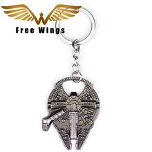 Fashion Spaceship Logo Millennium Falcon Keychain Retail 1Piece Metal Men Key Chains High Quality Size 4.5*6.5cm Wholesale 2D8(China (Mainland))