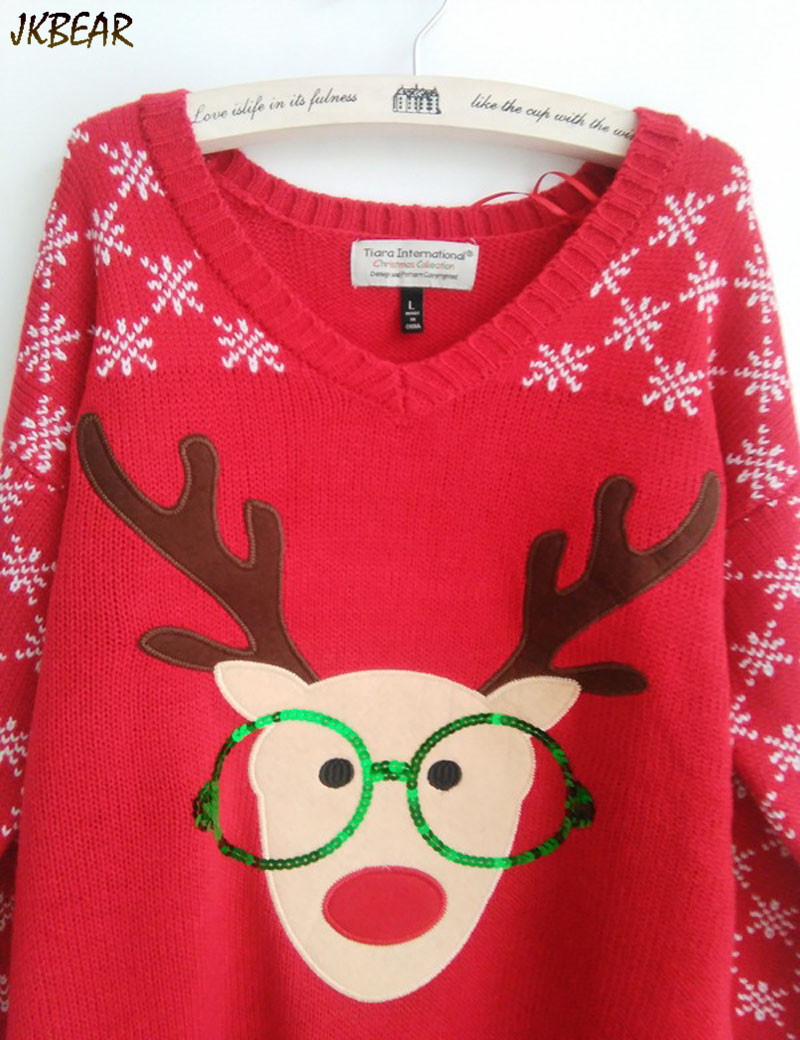 New-arriving Rudolph the Red Nose Reindeer Wearing Glasses Ugly Christmas Sweaters for Women S-XL 4