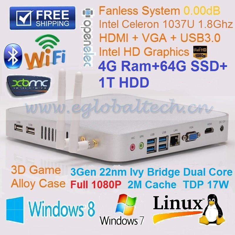 MIni PC Windows 4GB Ram 64GB SSD 1TB HDD Intel Celeron 1037U Mini PC Linux HTPC Kodi HDMI VGA Dual Display DHL Free Shipping(China (Mainland))