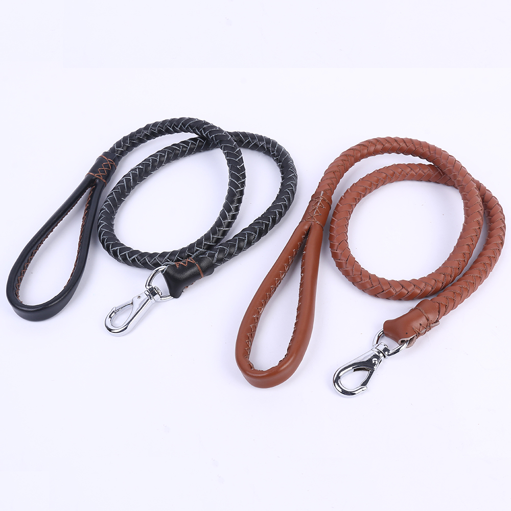 Real leather pet chain Medium-sized dogs Leash high-quality nylon Woven medium Dog Traction Rope large pet rope Large Dog Lead(China (Mainland))