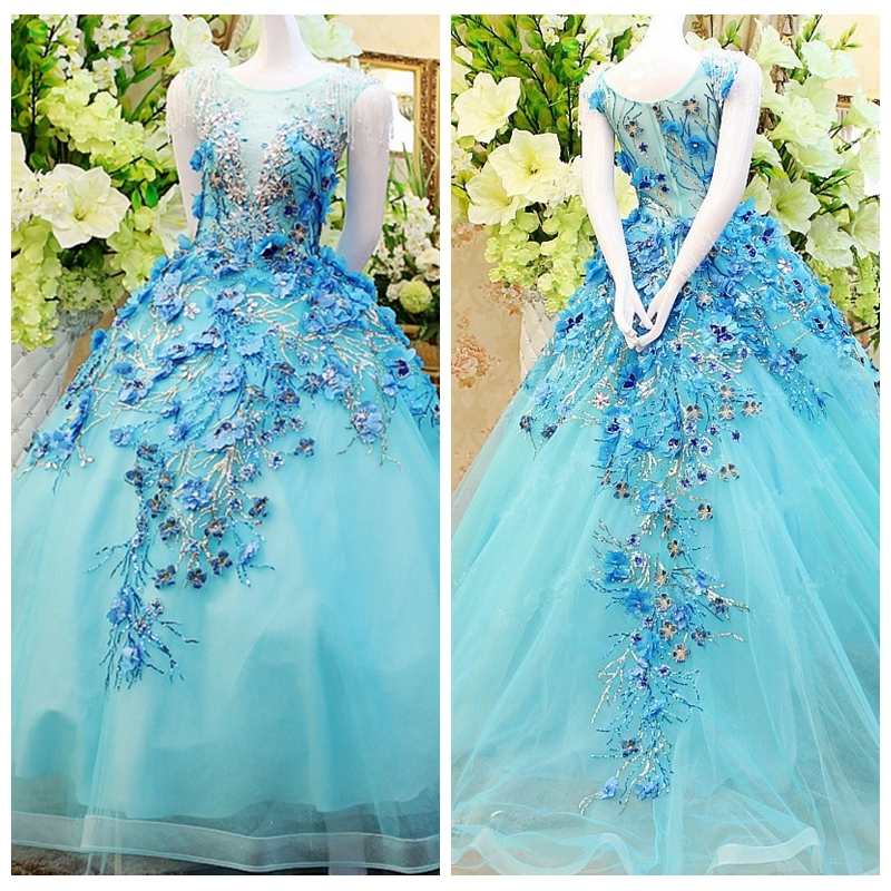 Neckline Ice Blue Ball Gown Beach Wedding Dress From Reliable Dress