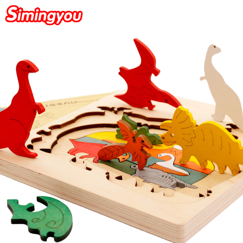 Simingyou 3D Wooden Puzzle Baby Gift Puzzle Bois Kids Puzzles For Children Early Educational Wood Toy Puzzle Montessori Toy MZ04(China (Mainland))