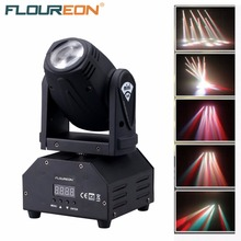 Floureon 10W LED Mini Moving Head Beam Light,4 in 1 RGBW Cree LED,DMX512, Disco Stage lighting for DJ Pub,KTV,Night Party(China (Mainland))