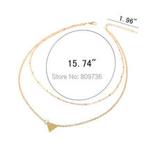 Hot Women Punk Double Layers Gold plated Sequins Small Triangle Pendant Chain Necklace Chic Jewlery Gift