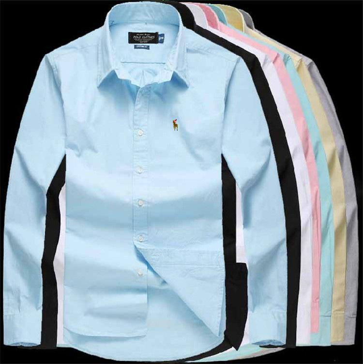 Men's Dress Shirt Brand Ralph 2015 Tops Mens Slim Fit Blouse Long Sleeve Fashion Dress Men Shirts Trim Shirts Cardigans(China (Mainland))