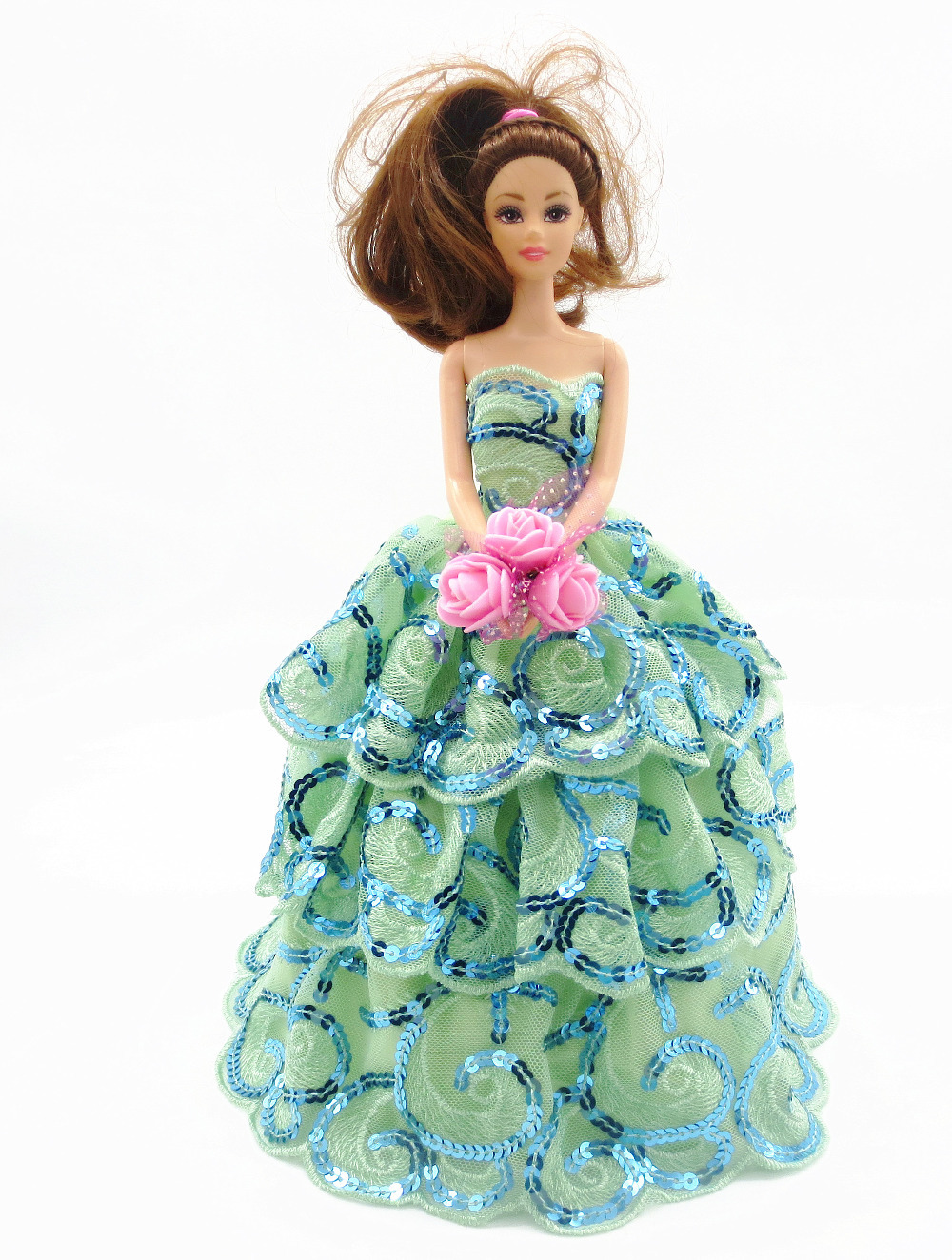 2015 Free shipping New hot Handmade Party Doll's beautiful Dress Clothes Gown For Barbie best baby christmas 150(China (Mainland))