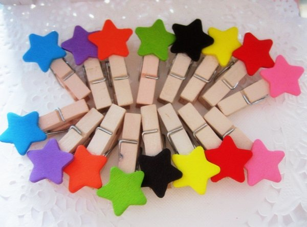 Freeshipping! New Cute colorful star Wooden Clip / Bag / Paper Clip / Special Gift / Fashion / wholesale(China (Mainland))
