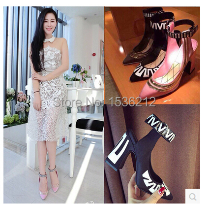 Mary Janes Shoes Woman thick heels Women pumps round Toe High Heels Design Summer Mixed Color Hot Style zapatos mujer
