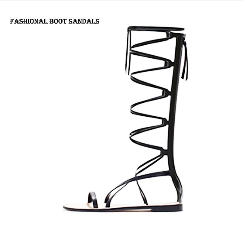 2015 spitzen bis knie stiefel sandalen gr e 35 39 farbe schwarz mode sandalen. Black Bedroom Furniture Sets. Home Design Ideas