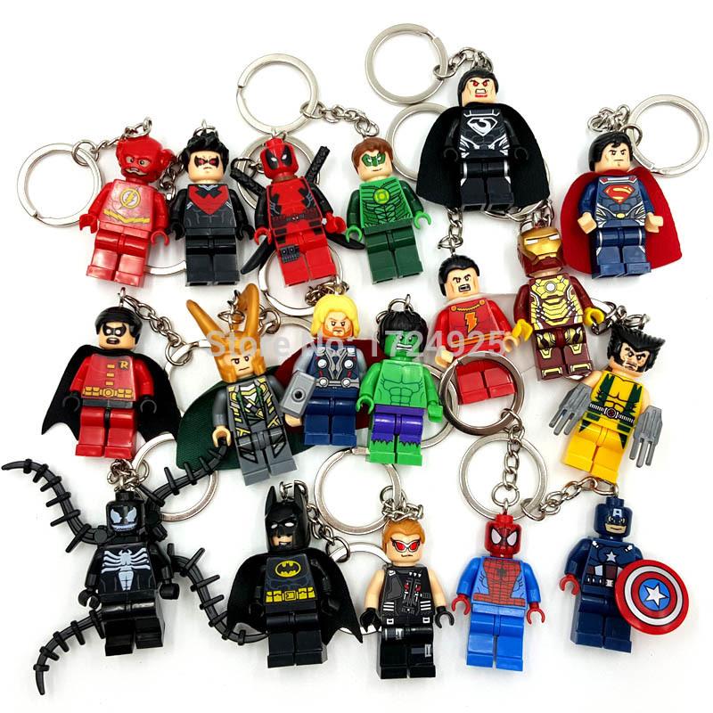DIY Customize Minifigures Key Chain Key Ring Keychains Super Heroes TMNT SWAT Star Wars Building Blocks Bricks Toys For Children(China (Mainland))