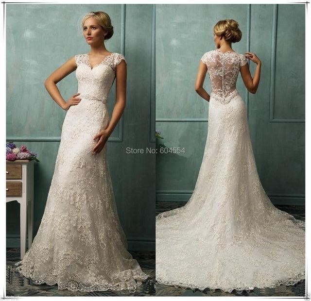 На заказ Vestido Noiva Casamento слоновая кость / белый атласная органзы аппликация часовня поезд кружева свадебное платье свадебные платья