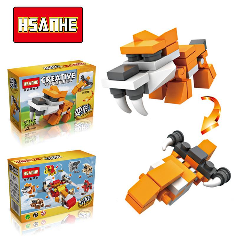 HSANHE 6In1 3D Plastic Building Blocks Animals Dinosaurs Set DIY Model Children Bricks Learning Education Toys 2016 New 5+ Years