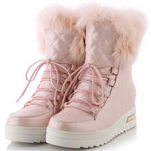 Tamaño 34-43 Mujeres de La Manera Botas de Nieve Caliente Zapatos de Piel Gruesa Plataforma de Cuña Oculta Tacones Tobillo Cómodo Hogar Al Aire Libre botas Zapatos(China (Mainland))