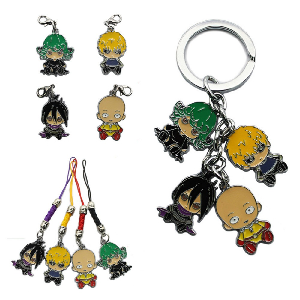 One Punch Man Q Vertion Figures Keychains Metal Pendants Charms phone straps Key Chain 10PCS/LOT
