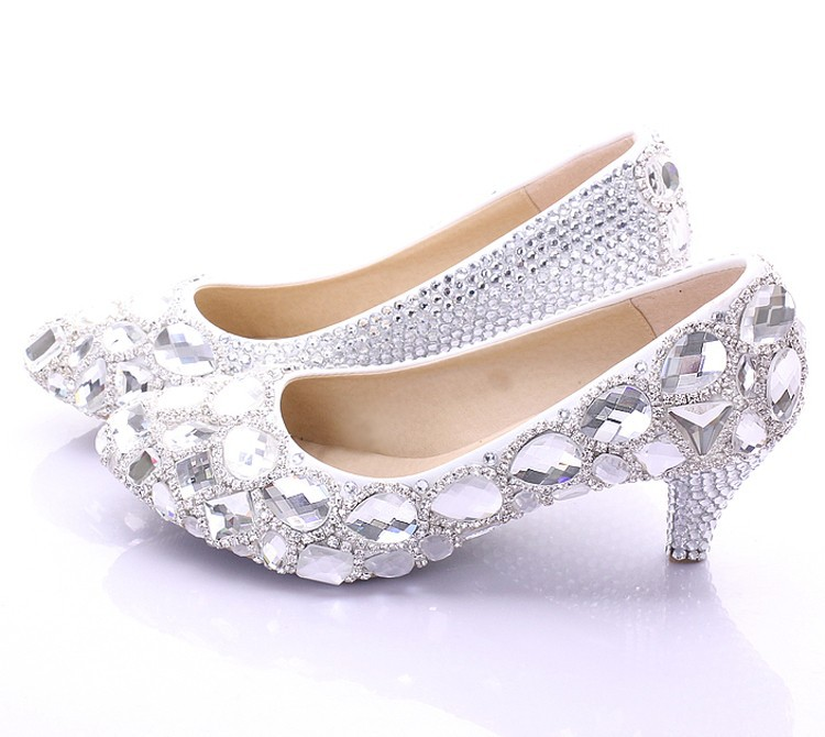 Spring Elegant Middle Heel Bridesmaid Shoes New Style Rhinstone Crystal Bridal Wedding Shoes Party Prom Shoes  Bride Shoes