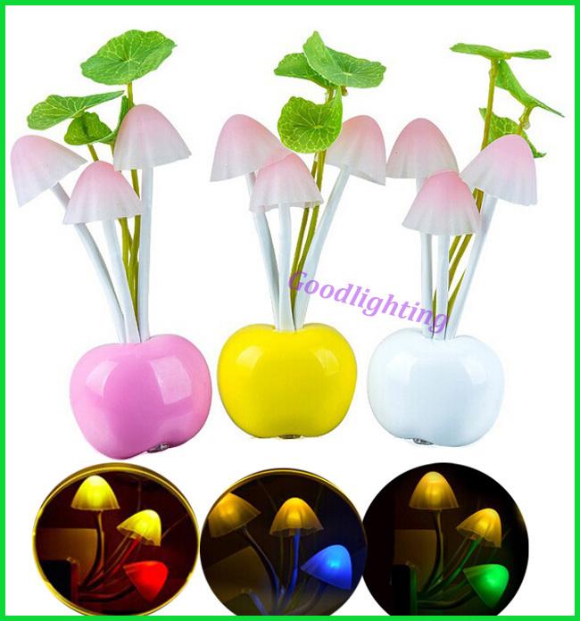 light sensor night lamp EU US plug mushroom dream bedroom light indoor home decoration AC220V nightlight(China (Mainland))