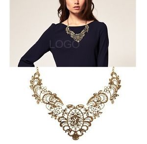 Metal Wire Lace Hollow OUT Luxury Flower Pendant Ladies Short Necklace H5(China (Mainland))