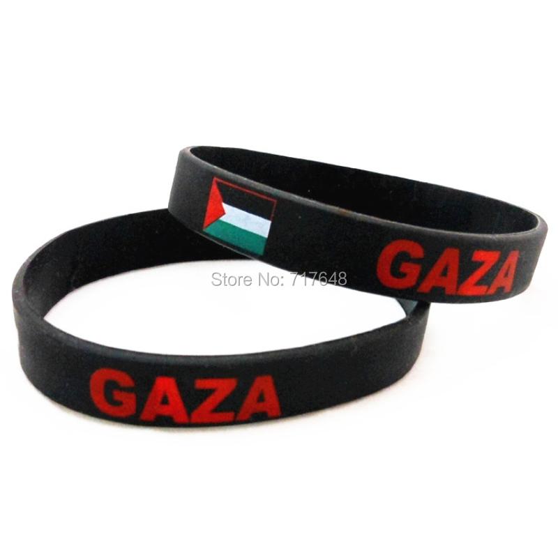 100pcs a lot GAZA wristband silicone bracelets rubber cuff wrist band bangle free shipping by FEDEX express(China (Mainland))