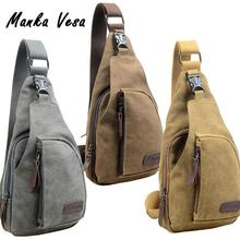 Mens Military Style Canvas Small Crossbody Shoulder Bag