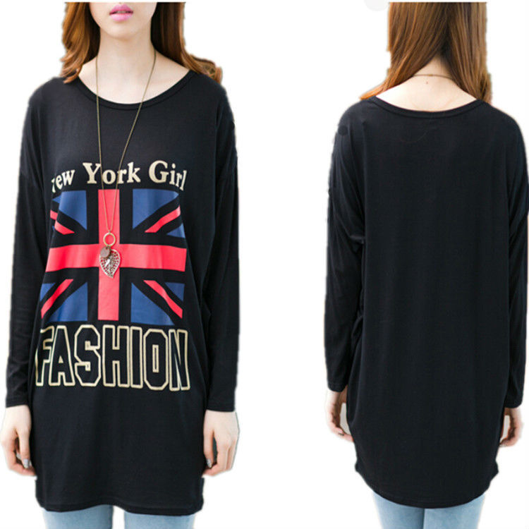 2015 New Fashion Women Tops Tees Korean Clothes British Flag Oversized T Shirt With Long Sleeves Round Neck Loose Tee Blouse(China (Mainland))