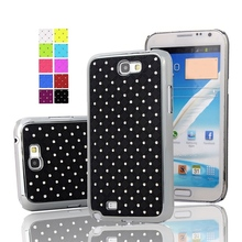 Shining Rhinestone Diamond Rubberized Matte Cover With Silver Chromed Skin Case For Samsung Galaxy Note II 2 N7100 Phone Bag(China (Mainland))