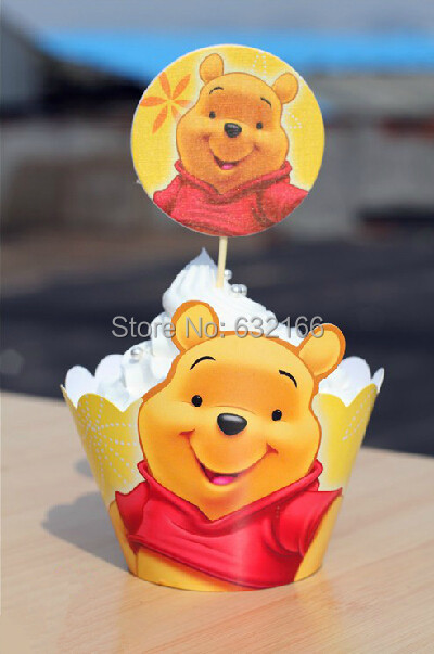 Free shipping Winnie the Pooh cake wrapper and topper,cake party decoration,decro,party favor,birthday wedding valentine(China (Mainland))