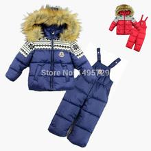 2015 bambini di inverno insieme dei vestiti del bambino tuta da sci ragazzo sport imposta anatra giù parka ragazzo antivento caldo cappotto di pelliccia giacche + pants bib(China (Mainland))