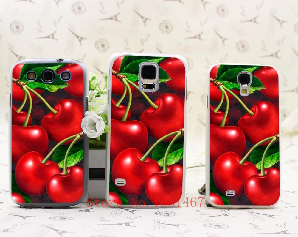534M- Green cherry fruit of food animation Hrad Style Case Cover for Samsung Galaxy S5 S4 S3 I9600 I9500 I9300(China (Mainland))