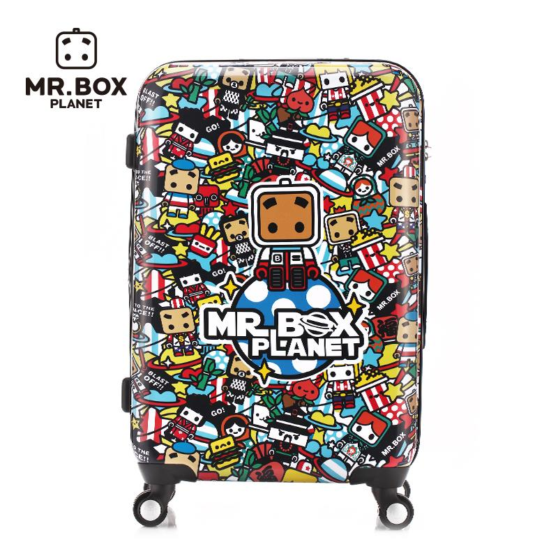 designer luggage sets 2015 new fashion Cute cartoon World Series - box world travel suitcase caster box hard case suitcases(China (Mainland))