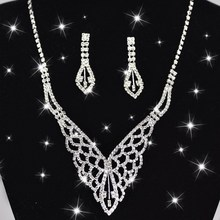 Min order is $6 (Mix order ) Beautiful large white cutout crystal jewelry set rhinestone necklace earrings frontlet(China (Mainland))