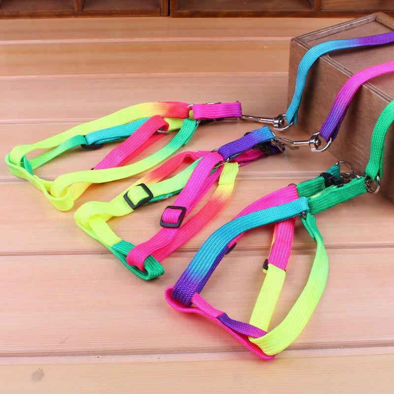 1.2M Rainbow Mascotas Pet Dog Puppy Leash Soft Walking Harness Lead(China (Mainland))